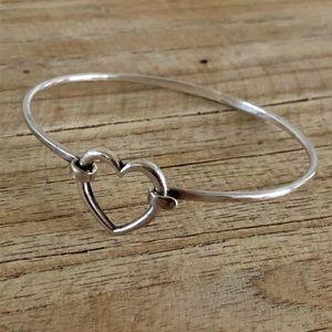 James Avery Retired Silver Heart Hook Bracelet